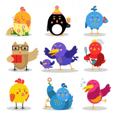 Cute cartoon birds in different situations, colorful characters vector Illustrations
