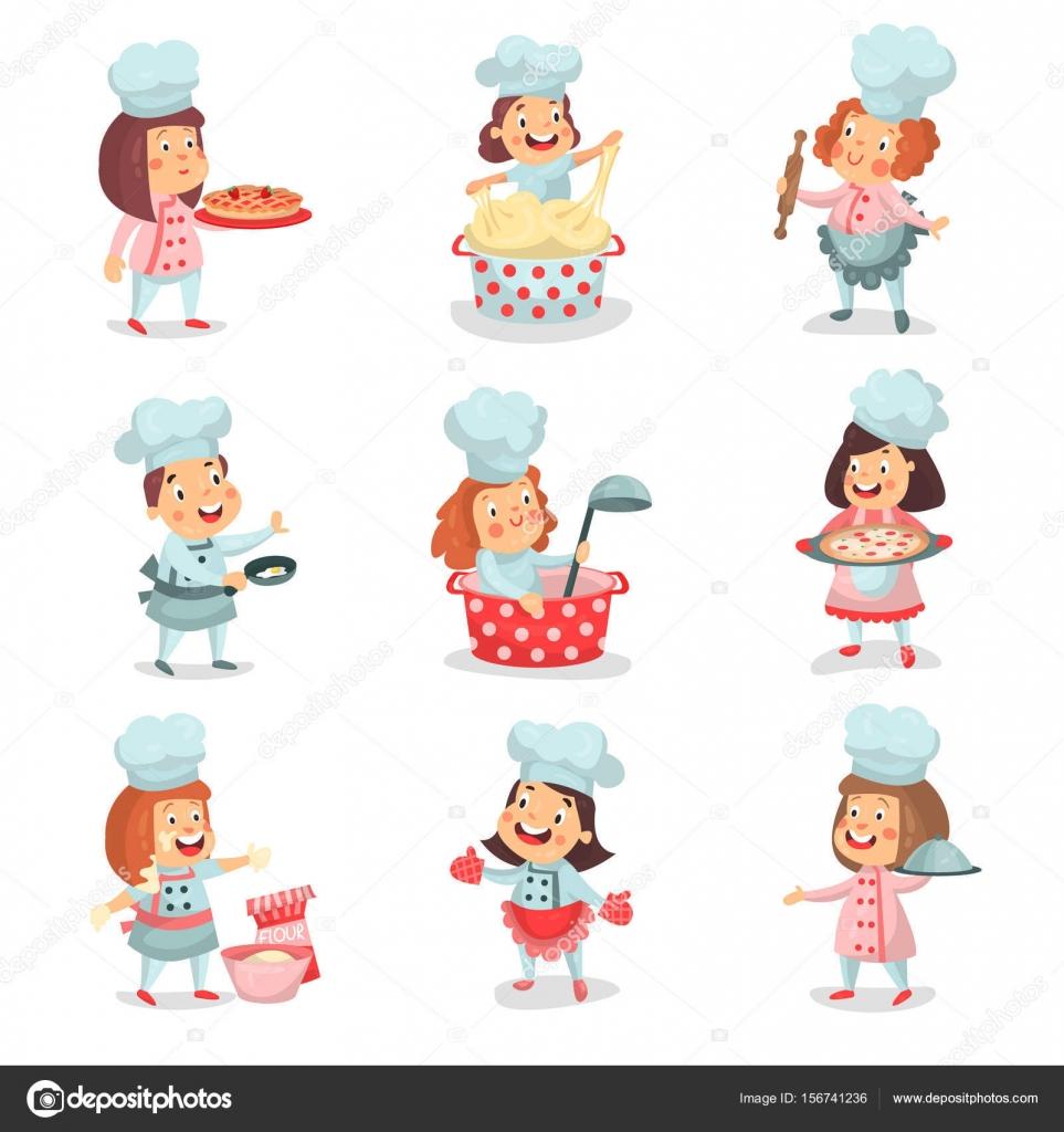 Jefe Cocinero Poco Lindo Niños Personajes De Dibujos Animados