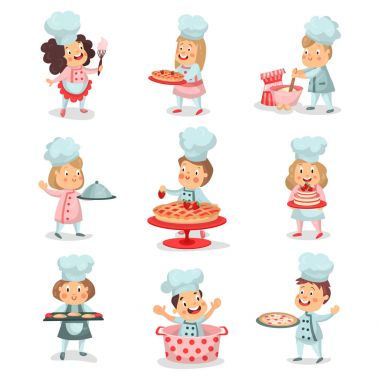 Set of little cook chief kids cartoon characters cooking food and baking detailed colorful Illustrations