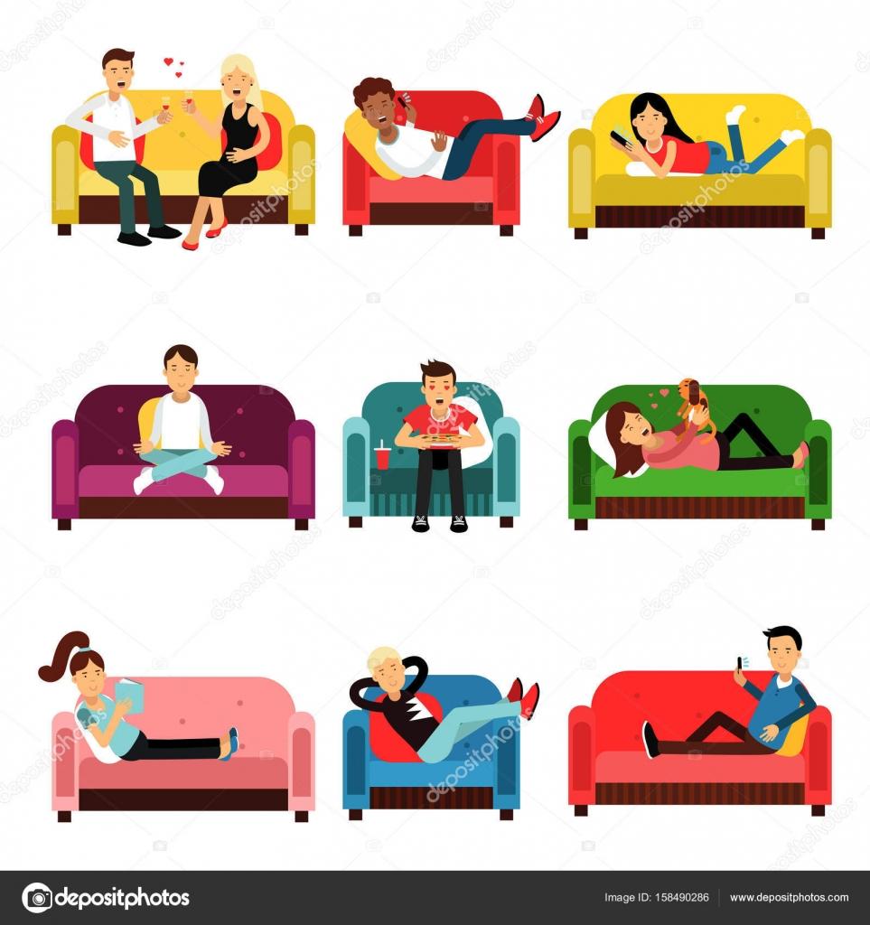 Gens qui font diff rentes activit s assis sur le canap et for Canape vector