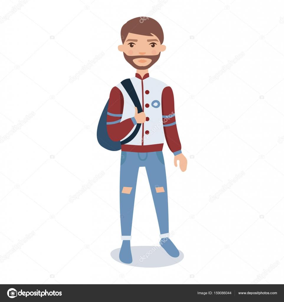 Barbu De Jeune Homme Portant Debout Veste Baseball Avec Le Vecteur