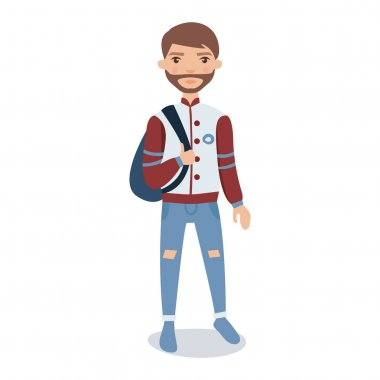 Bearded young man wearing baseball jacket standing with backpack cartoon character vector Illustration isolated on a white background stock vector