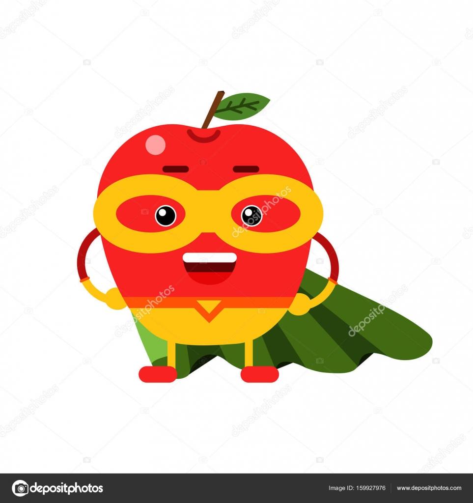 cute cartoon smiling apple superhero in mask and green cape