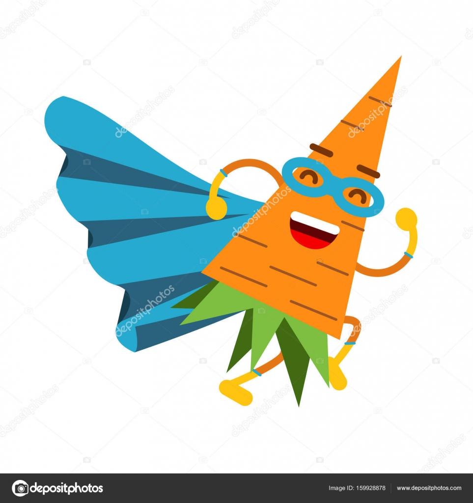 Niedlichen Cartoon lächelnd Karotte Superhelden in Maske und blauen ...