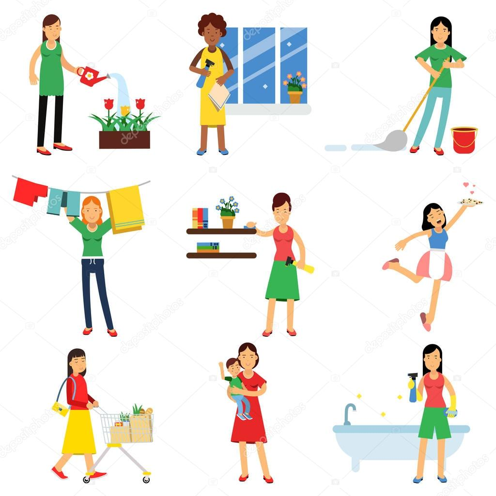Modern housewife in housework activity set, homemaker cleaning, housekeeping, caring for a child vector Illustrations