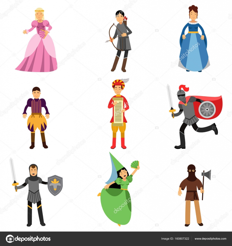 Medieval characters set people in the historical costumes of medieval characters set people in the historical costumes of medieval europe vector illustrations stock biocorpaavc Choice Image