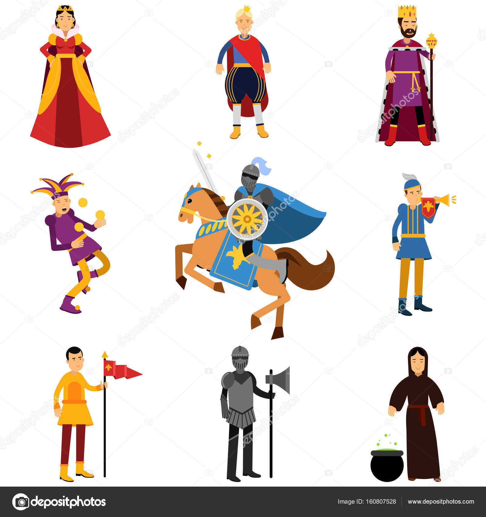 medieval characters in the historical costumes of medieval europe