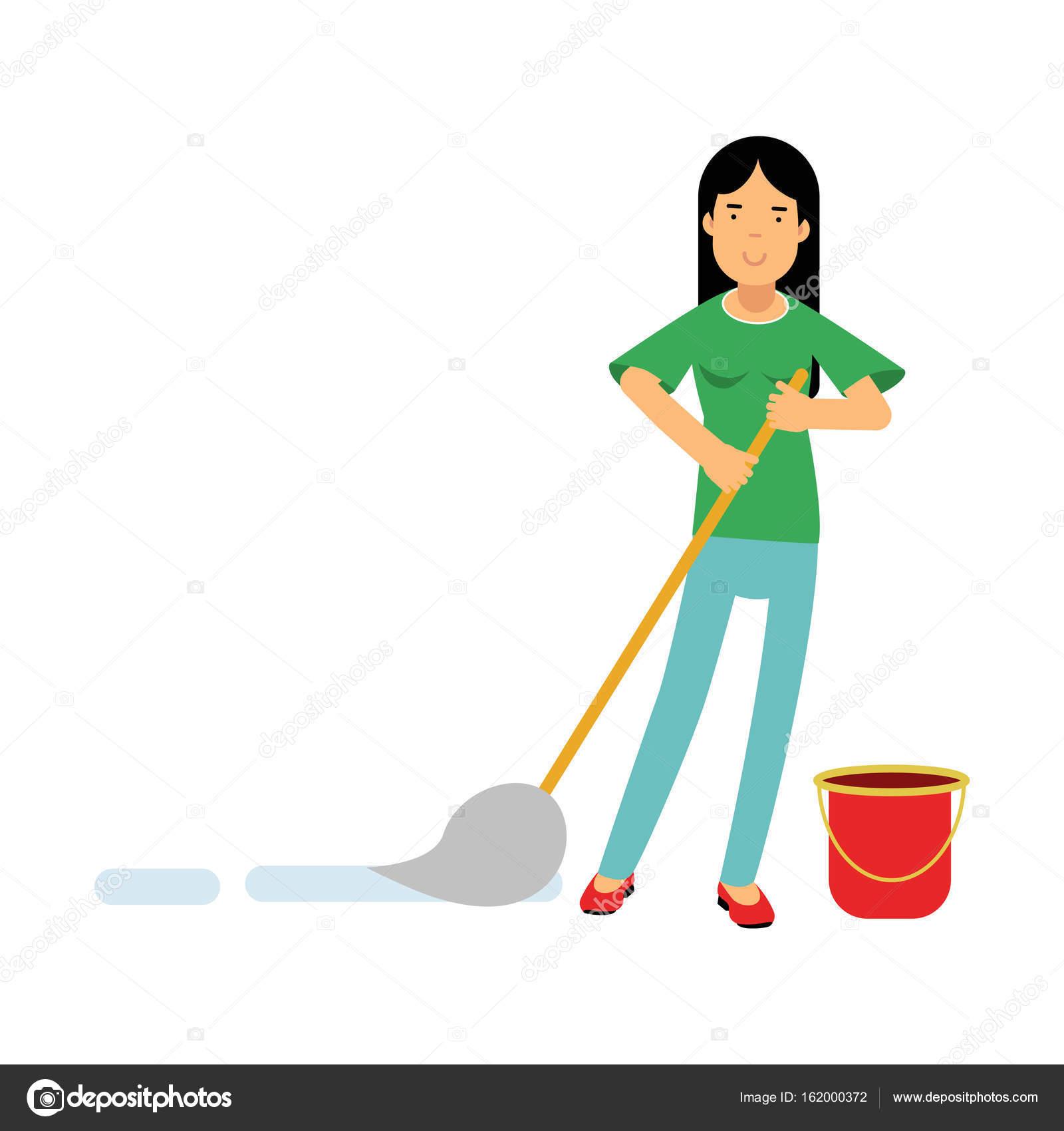 Ama de casa hermosa joven morena limpiar el piso con un - Limpiar la casa ...