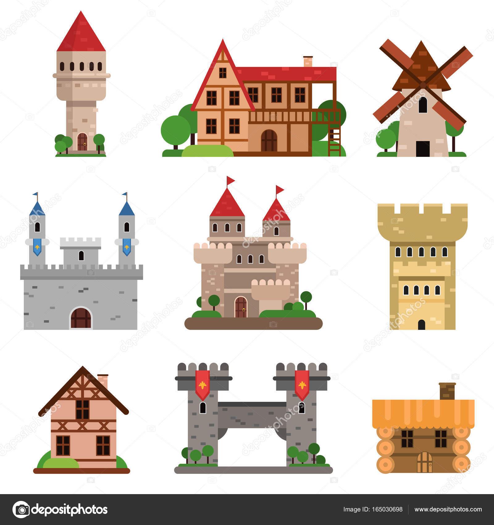medievais edifícios históricos de países diferentes conjunto de
