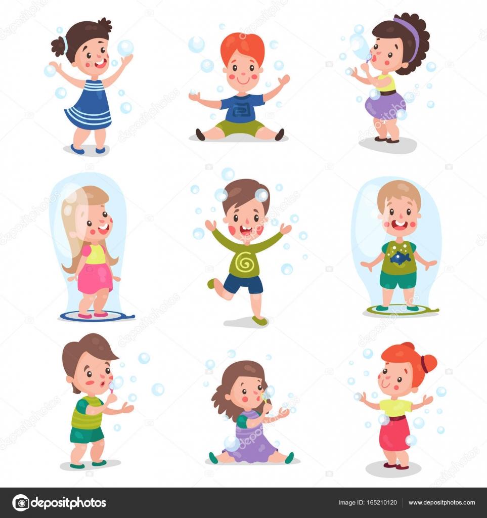 Dibujos Niños Jugando Con Burbujas Cute Niñas Y Niños Soplando Y