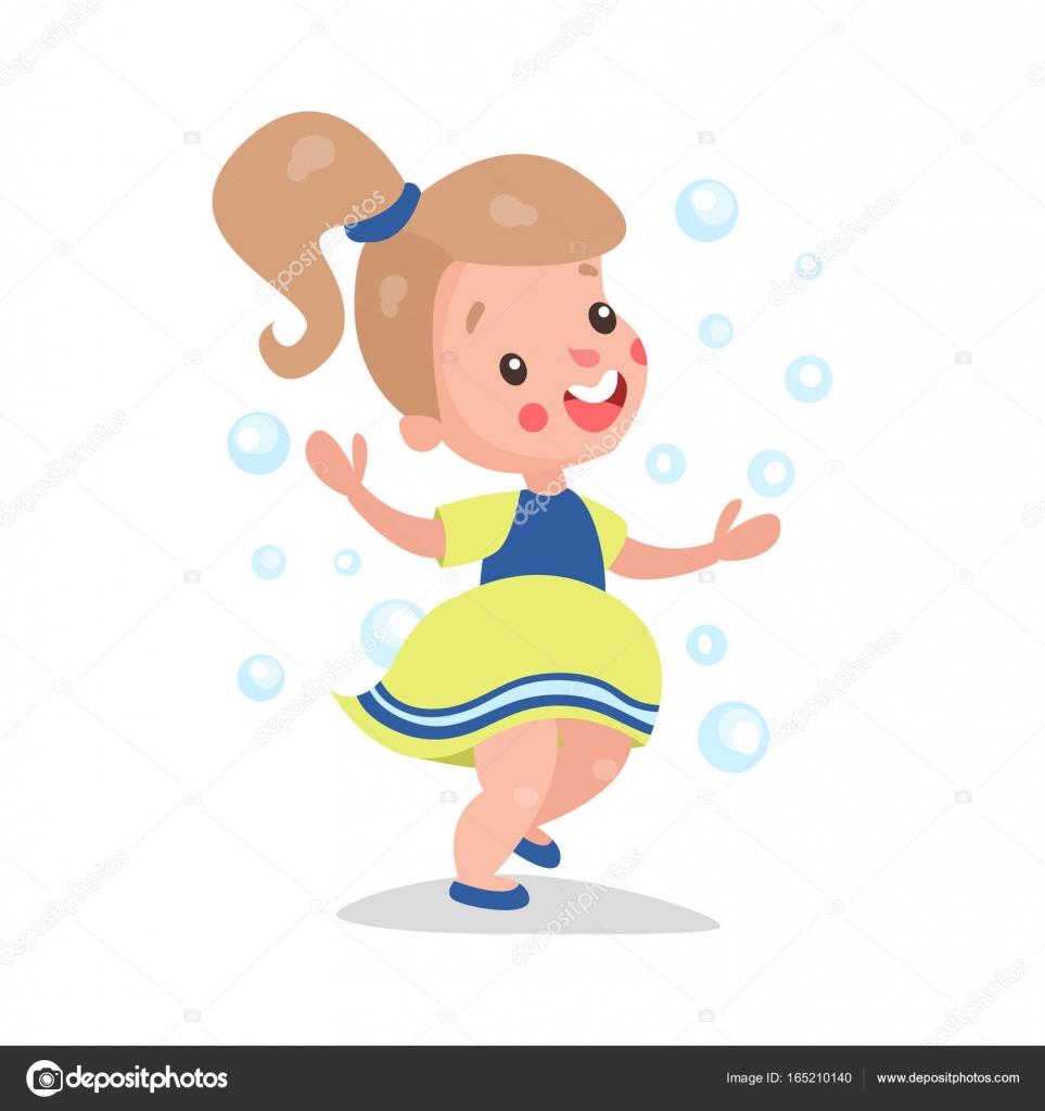 Cartone animato dolce bambina bionda avendo divertimento