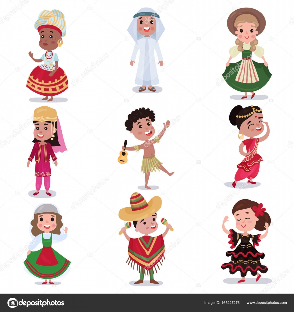 kids in traditional clothes of different countries set cute boys
