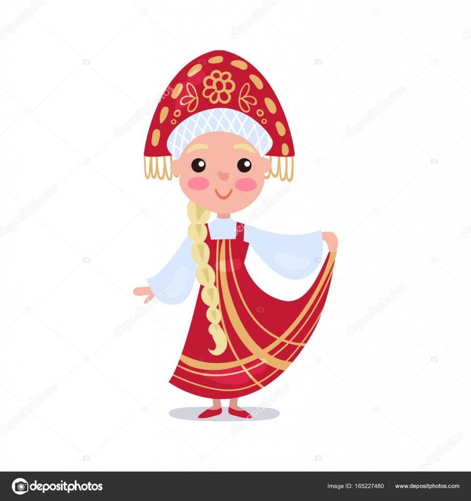 Kleine Mädchen tragen rote Sarafan und Kokoshnik, kid in ...