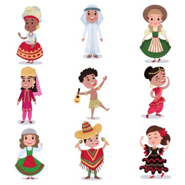 Kids in traditional clothes of different countries set, cute boys and girls in national costumes colorful vector Illustrations