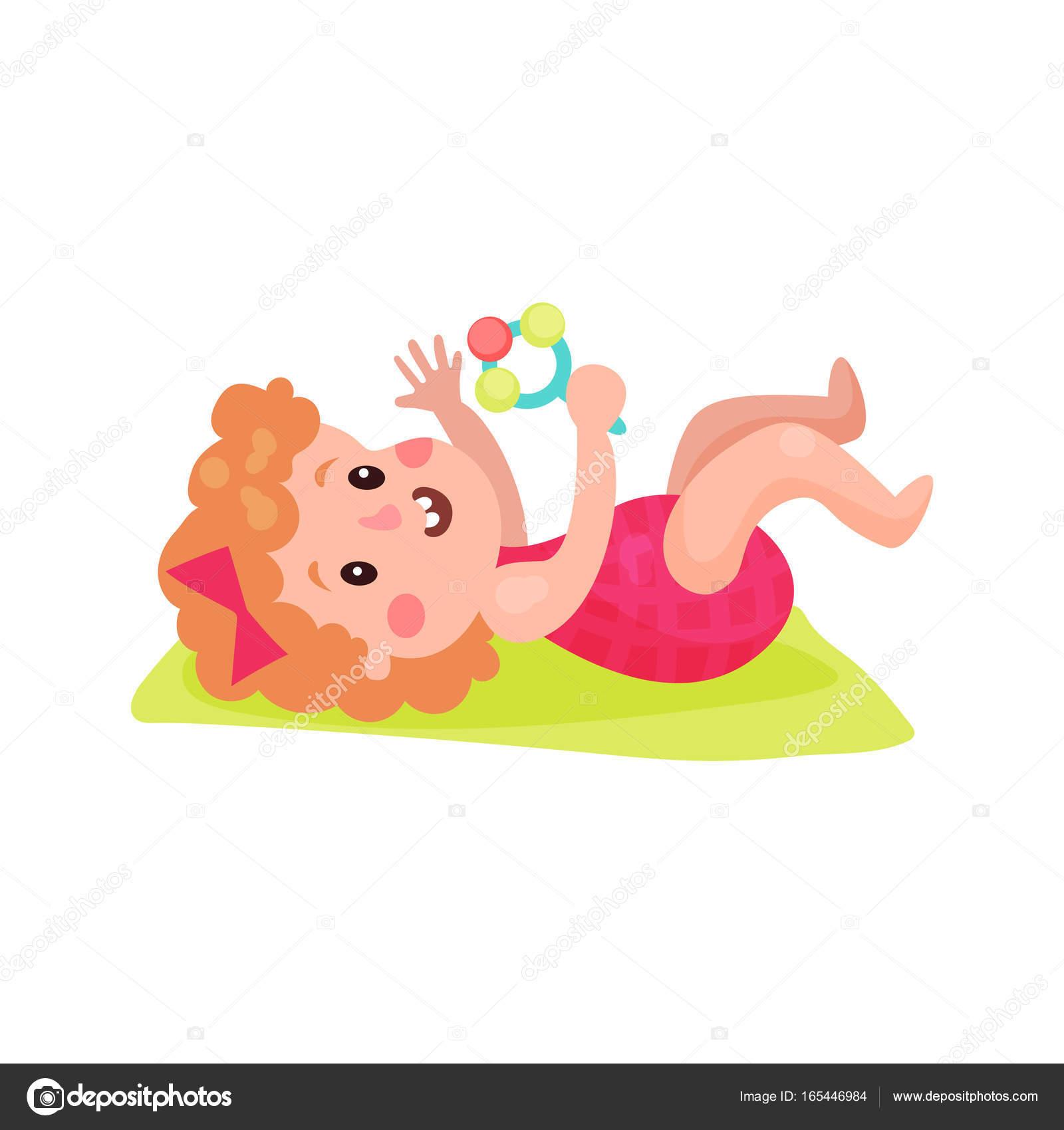 Adorable Petite Fille Couchée Sur Le Dos En Jouant Avec Le