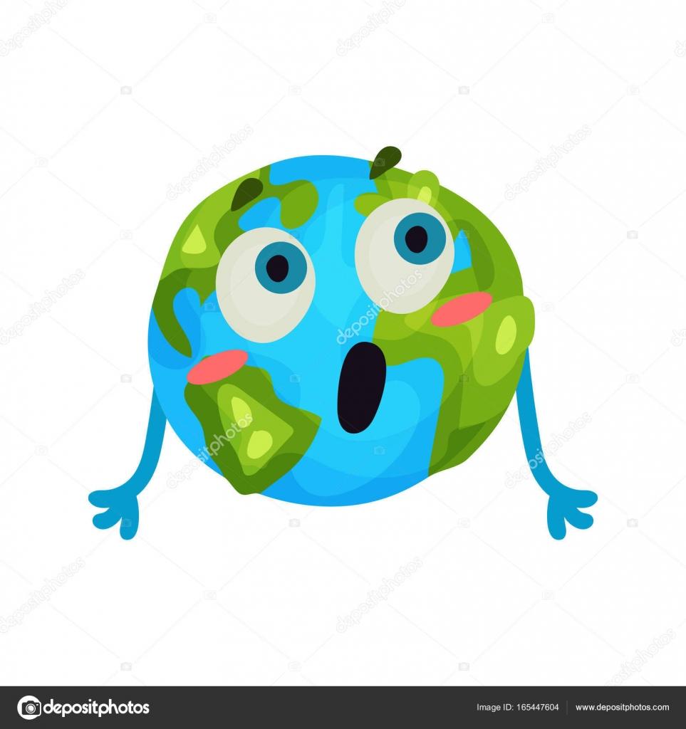dessin anim mignon surpris terre plante emoji drle humanis caractre globe avec vecteur color dmotions illustration sur fond blanc vecteur par - Dessin Avec Emoji