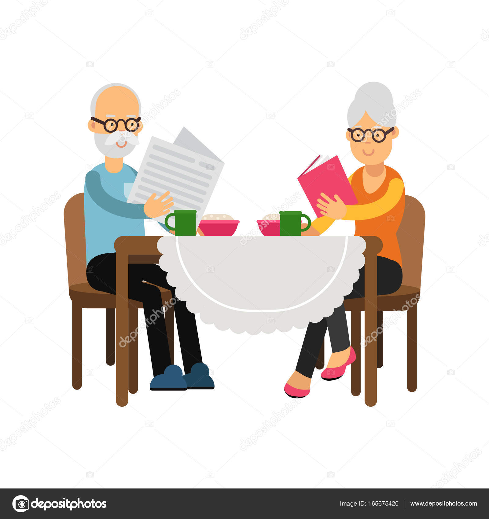 People Sitting At Table White Background. Senior Couple Characters Sitting  Near The Table Drinking Tea
