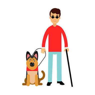 Blind man in dark glasses with walking stick and his dog colorful vector Illustration