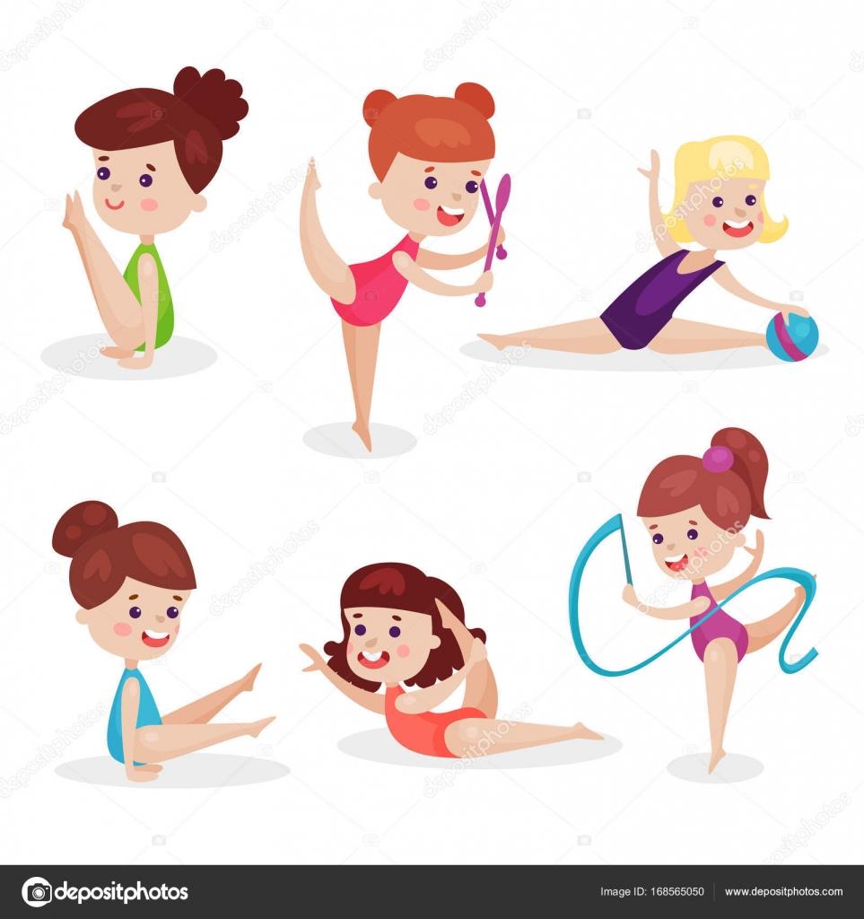 かわいい美しい女の子リボン運動の若い体操選手、体操セットを実行する