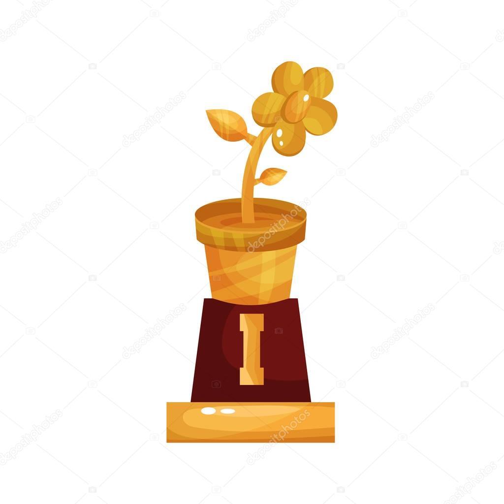 Golden statuette of flower pot, floristry and gardening award cartoon vector Illustration