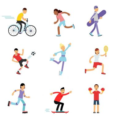 Teen boys and girls engaging in different sports activities, sportive children practicing in class gym and outdoors cartoon vector Illustrations
