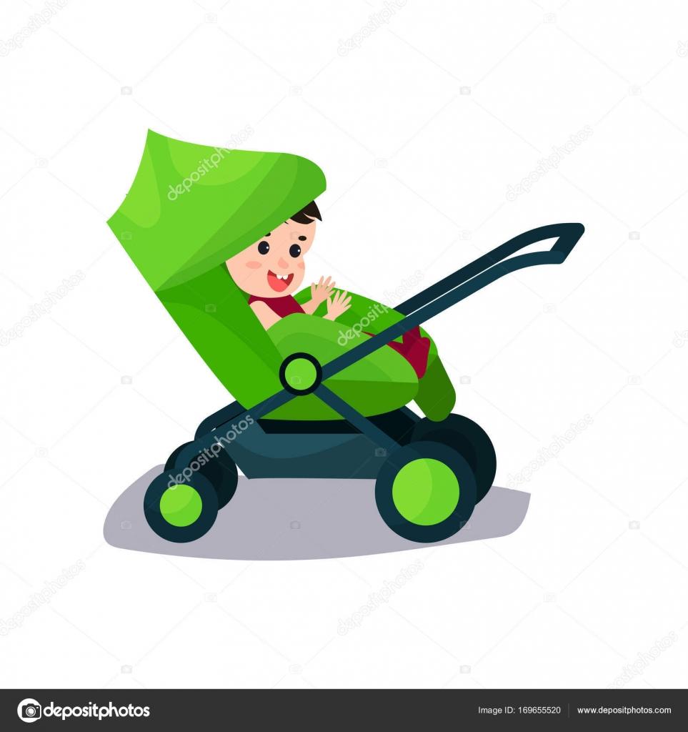 Roztomile Dite Sedi V Zelene Moderni Kocarek Preprava Malych Deti S
