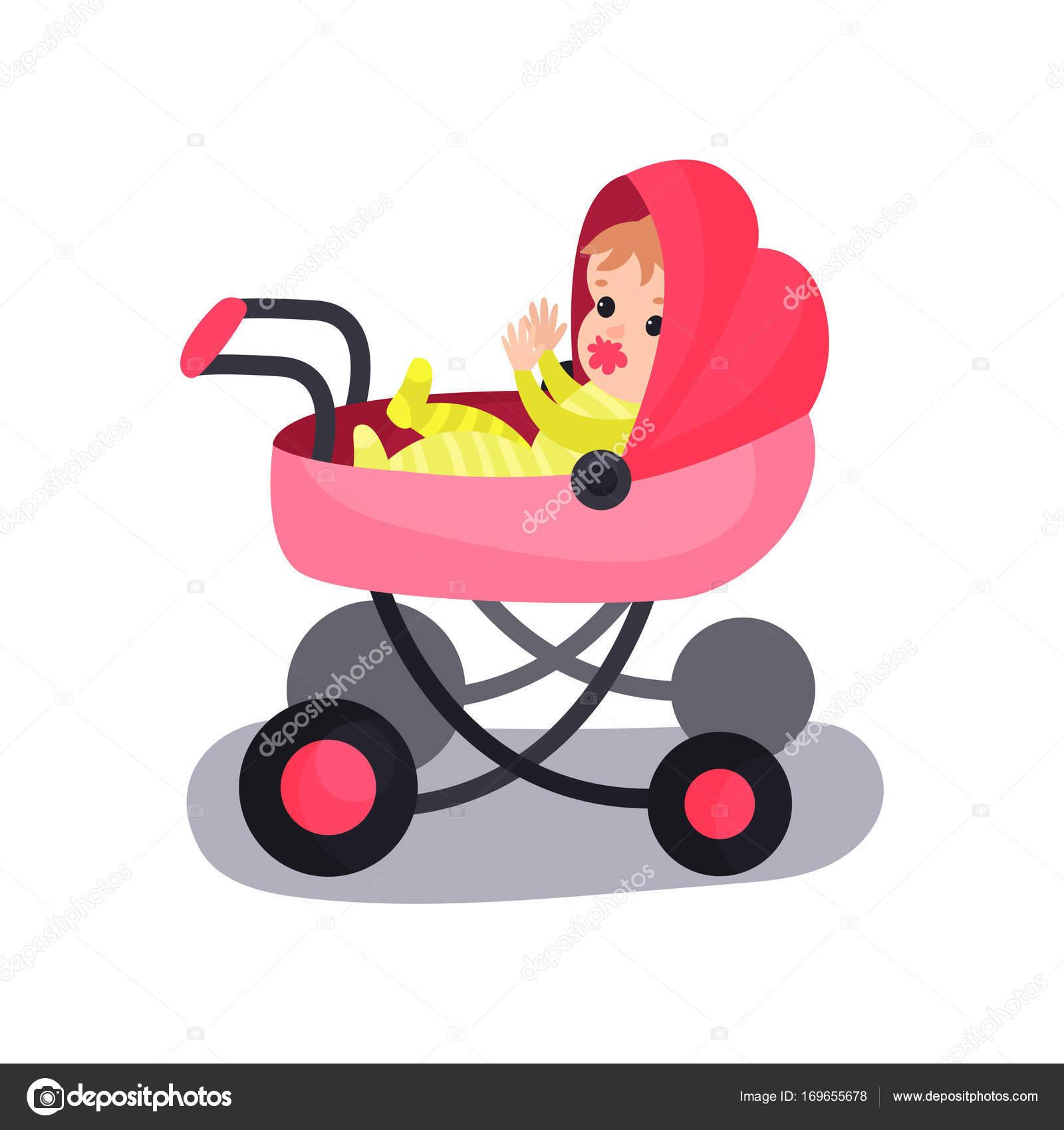 Beau Bebe Dans Une Poussette Moderne Rose Transportant Des Petits