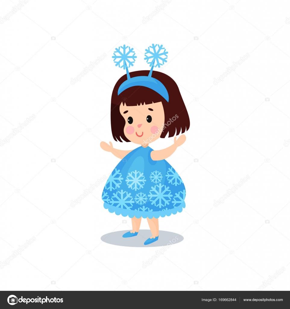 Douce Petite Fille Brune Dans Le Costume De Flocon De Neige