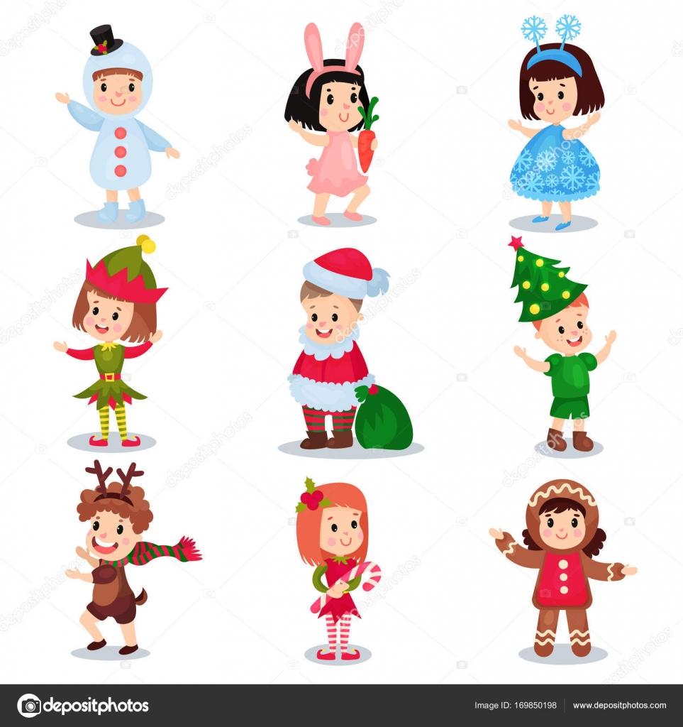 Schattige Kleine Kinderen Dragen Kerst Kostuums Ingesteld Gelukkige