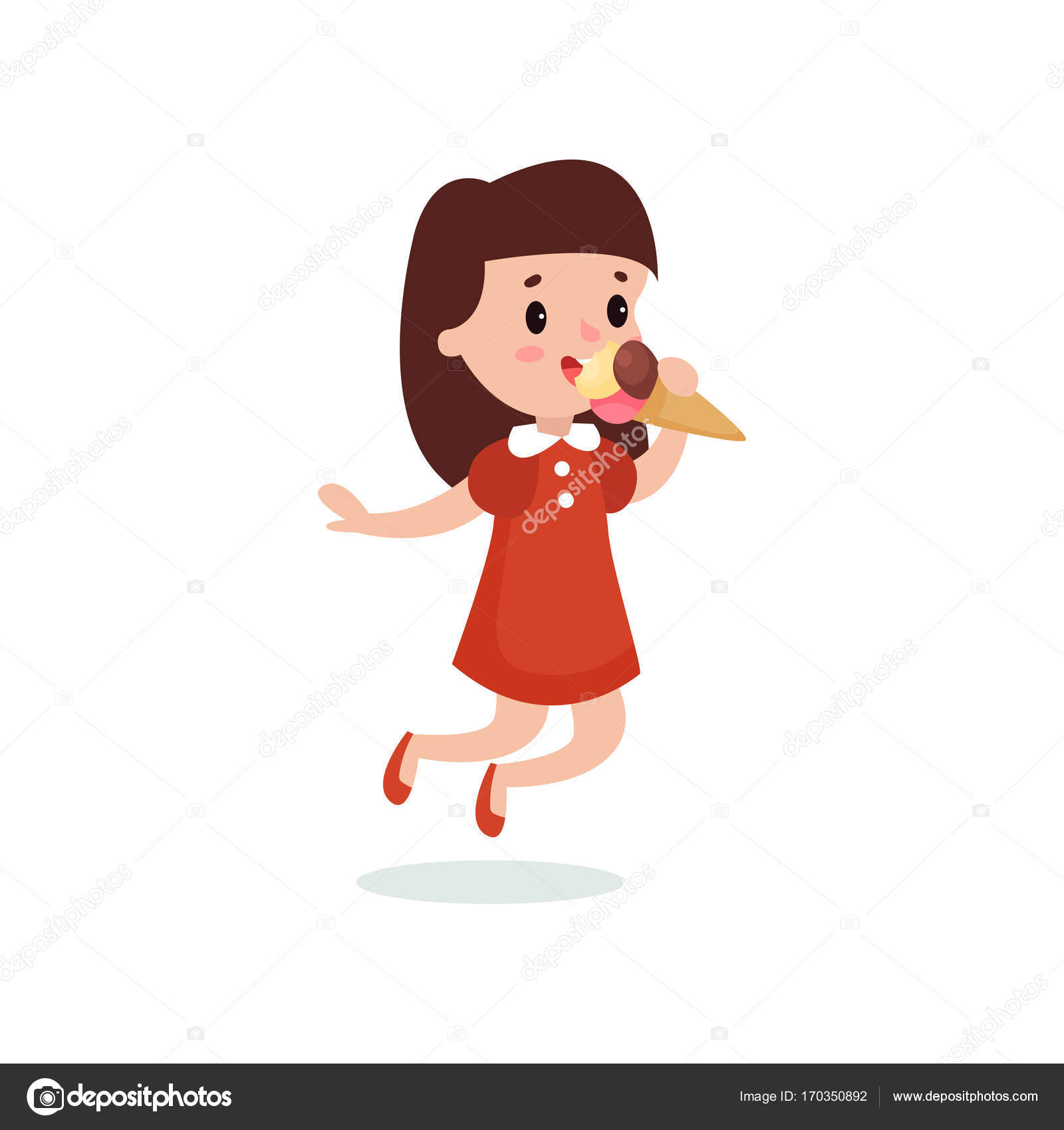 Heureuse Jeune Fille Brune Léchant Illustration Vectorielle