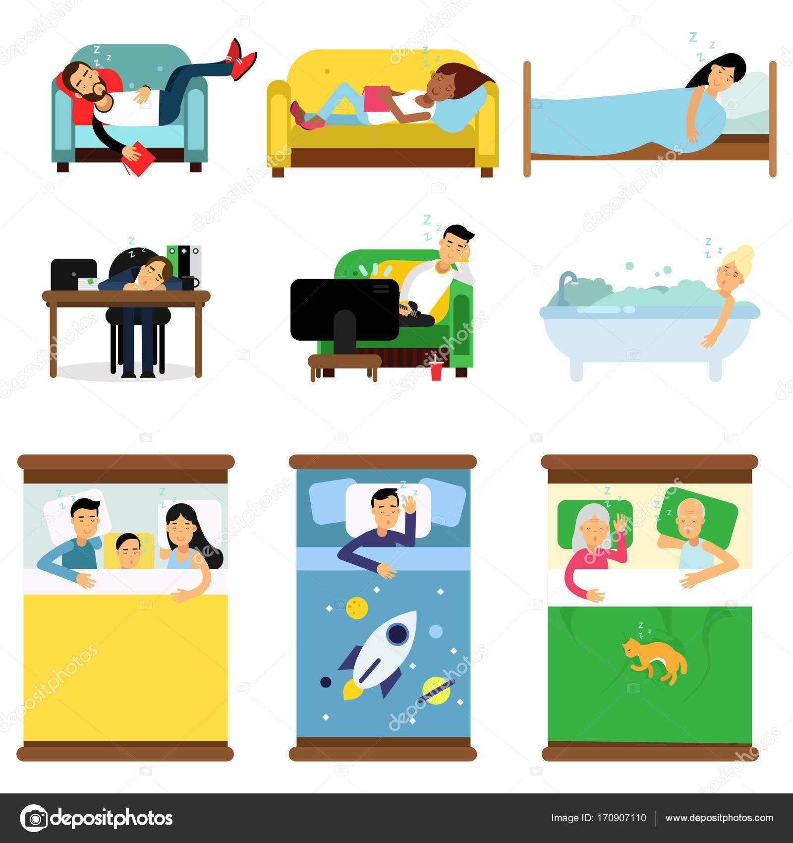 Incredible People Sleeping At Home At Work Set Men And Women Sleeping Unemploymentrelief Wooden Chair Designs For Living Room Unemploymentrelieforg