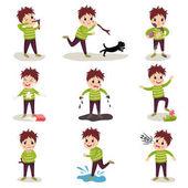 Fotografie Cartoon Charakter der freche Kind Set, Spiele spielen und Chaos
