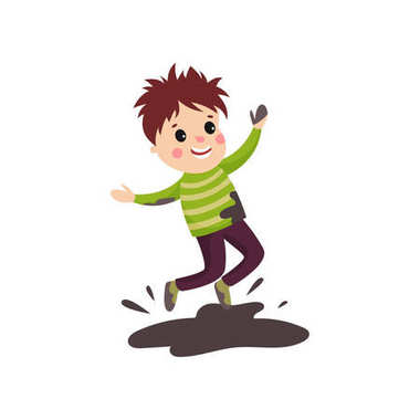 Overactive kid in soiled sweater and pants jumping in mud puddle