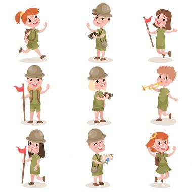 Collection of children scouts camping outfit, summer camp activities