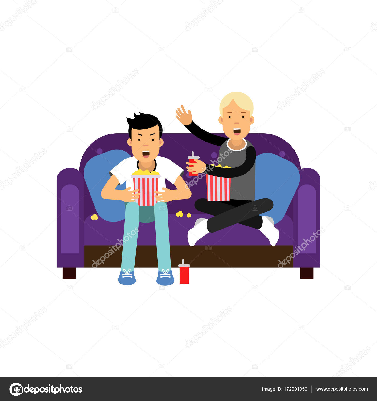 Two best friends sitting at the sofa, watching TV and eating popcorn ...
