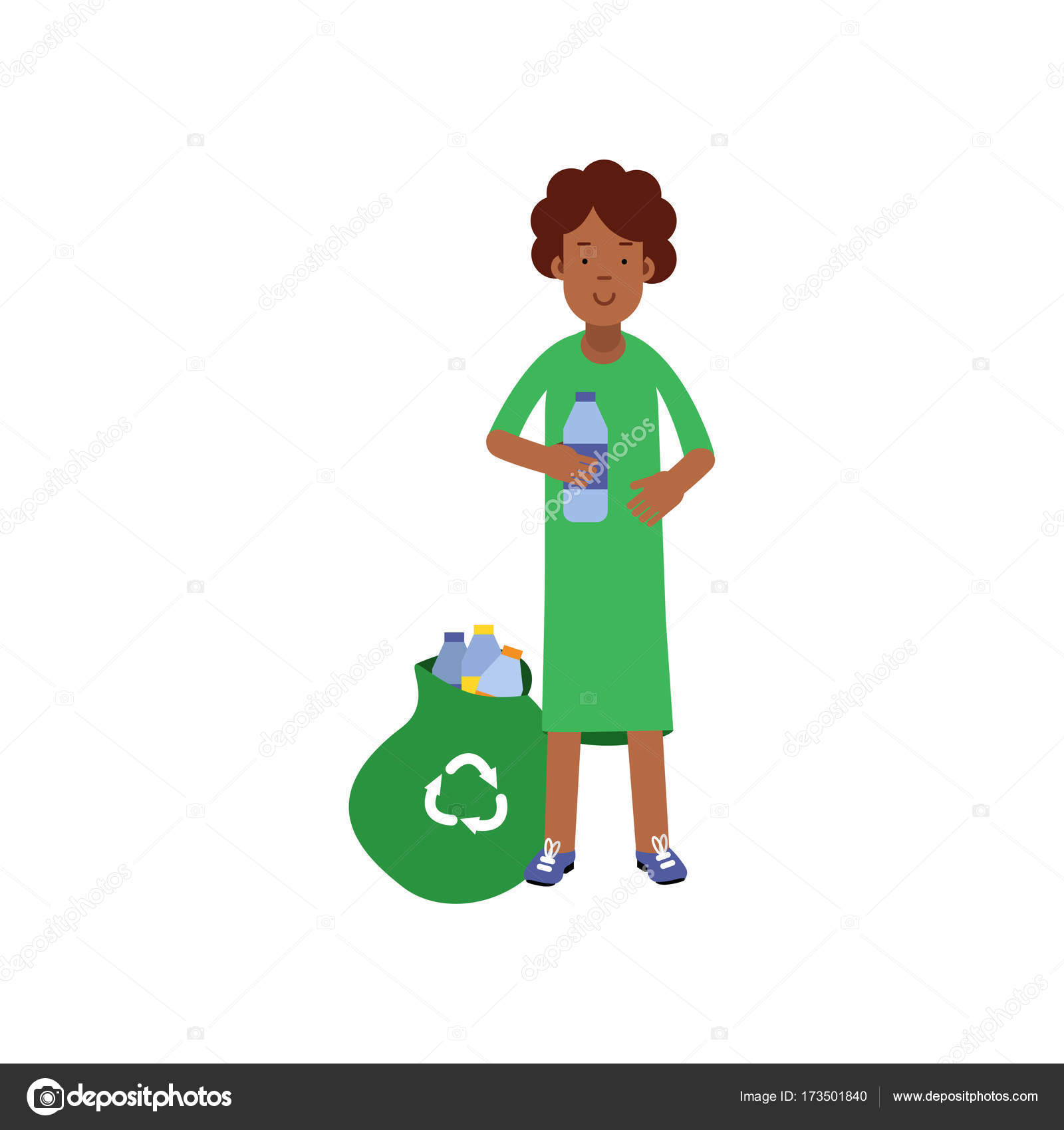 f25192b014 Γυναίκα εθελοντής κινούμενα σχέδια χαρακτήρα που συλλέγει πλαστικά  μπουκάλια στην τσάντα για ανακύκλωση