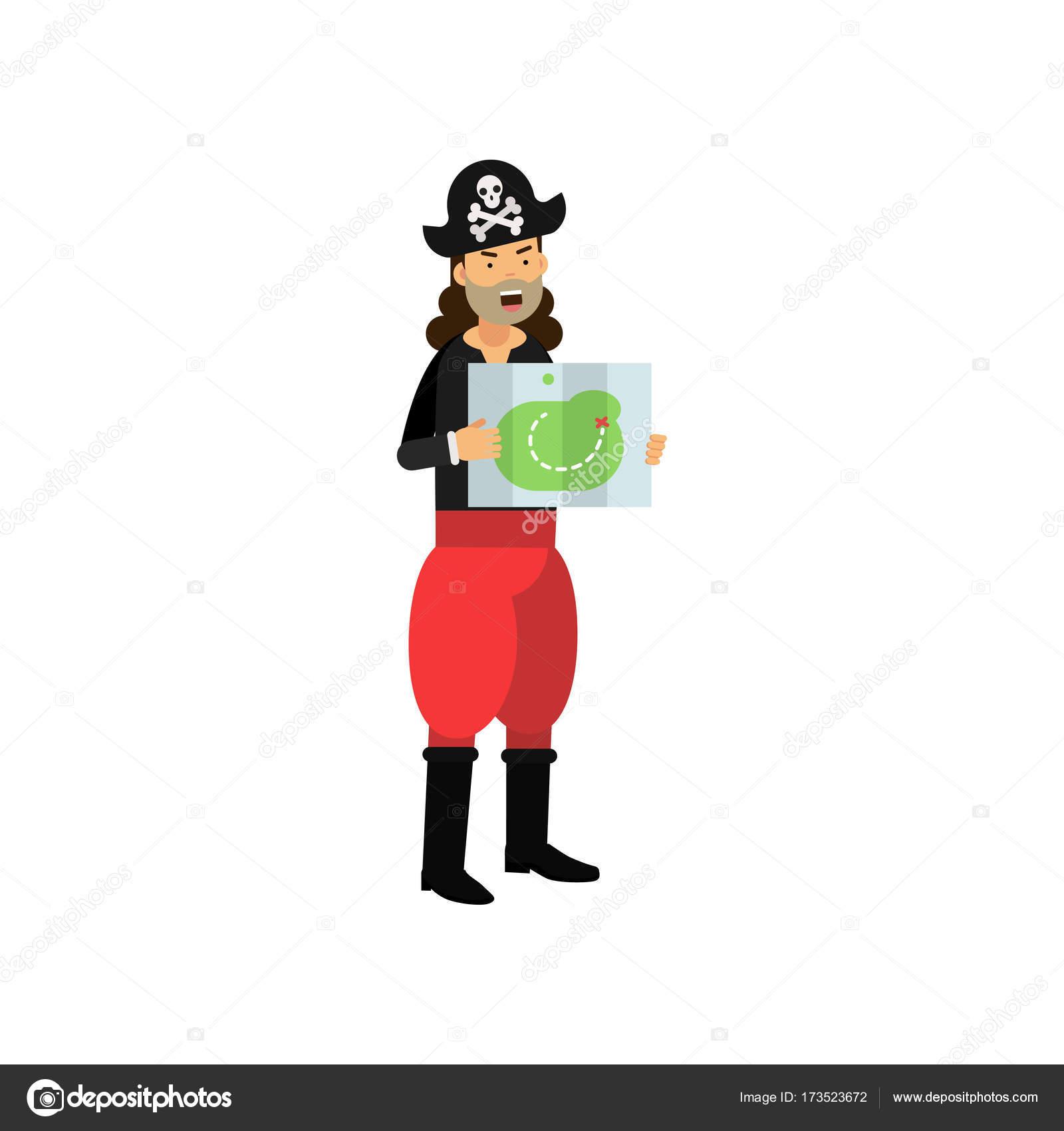 Capitaine De La Bande Dessinee De Standing De Bateau De Pirate Avec