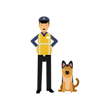 Cartoon flat police officer in high visibility clothing standing with service german shepherd dog