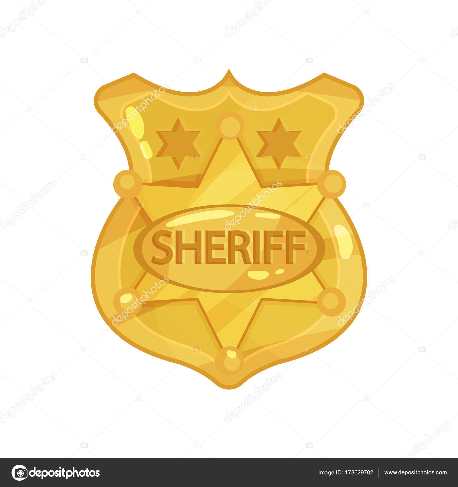 Golden cop s badge with stars and engraved word sheriff cartoon golden cop s badge with stars and engraved word sheriff cartoon vector illustration in flat buycottarizona