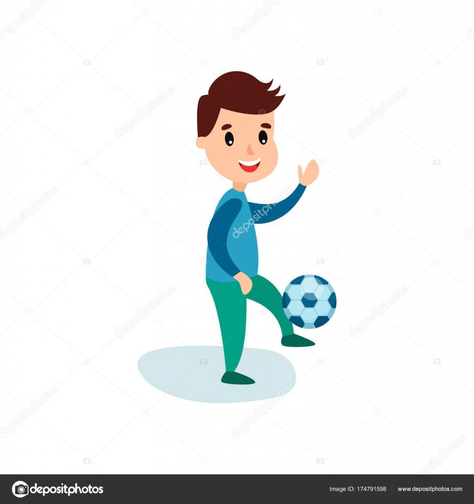 Dibujos Actividad Fisica Sonriente Personaje Niño Patear El Balón