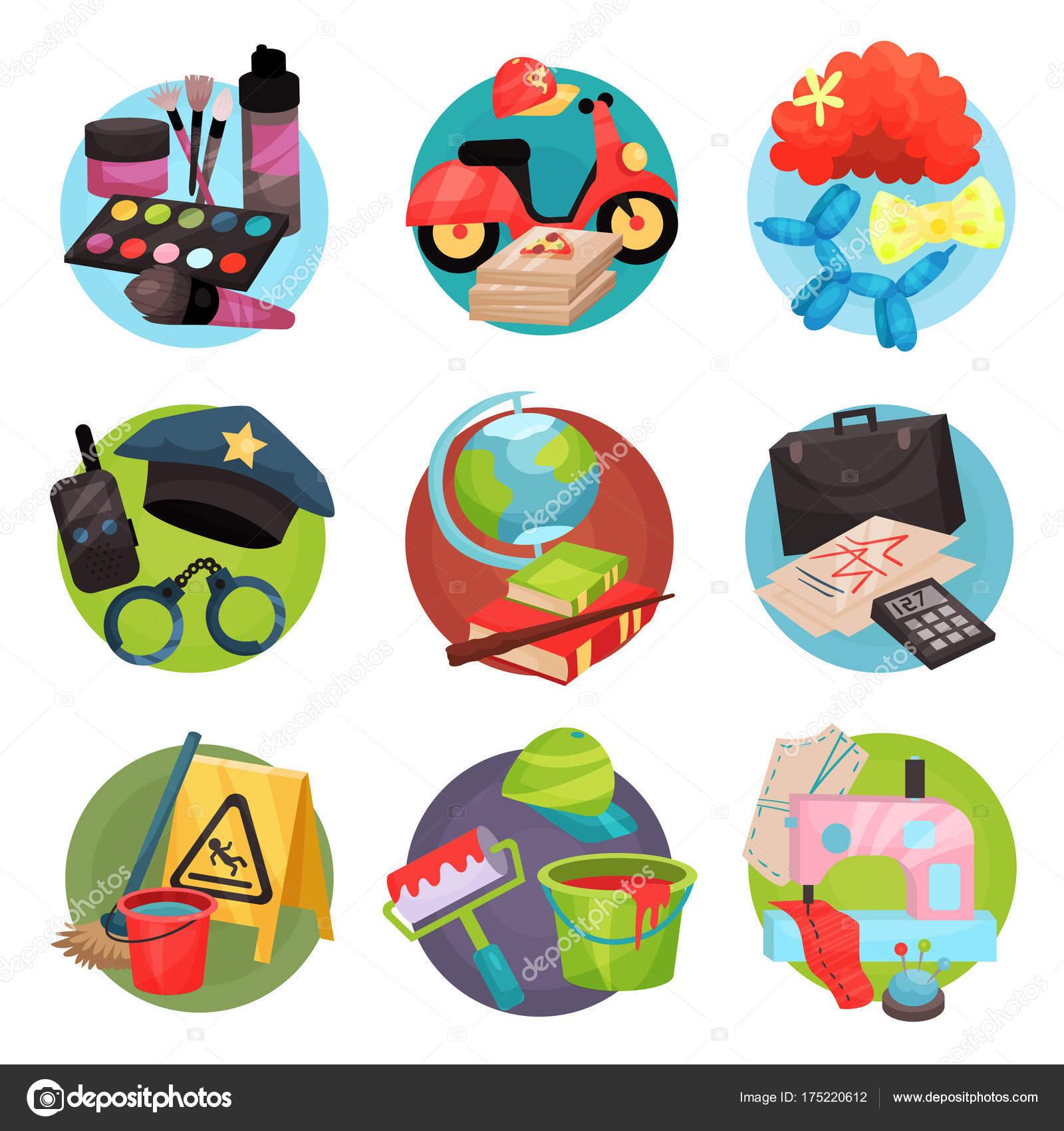 Conjunto De ícones De Ocupação Humana, Símbolos Das