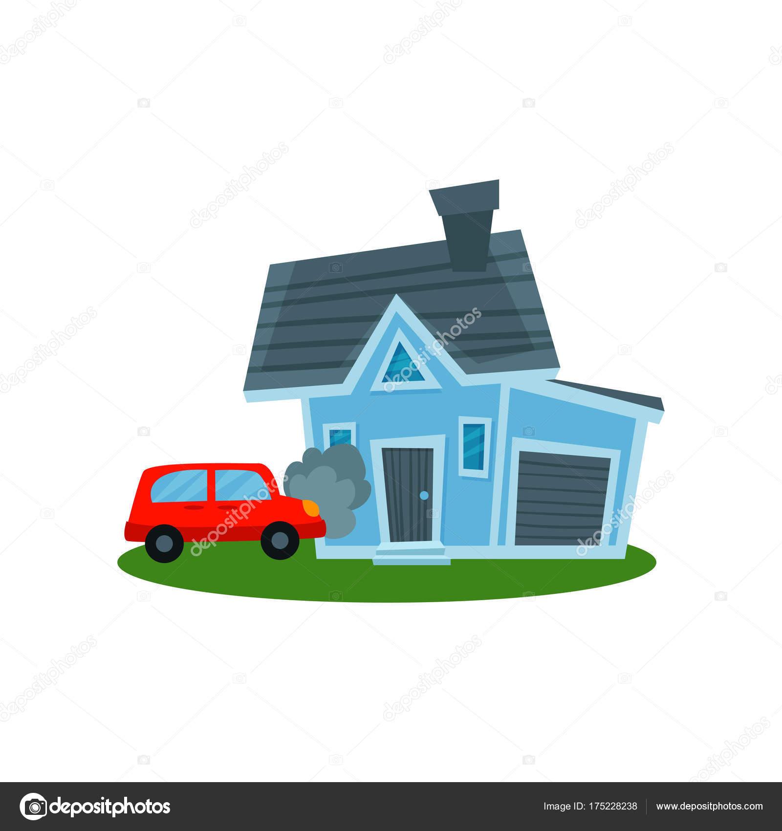ホーム 財産保険の壁にクラッシュする自動ベクトル イラスト ストック