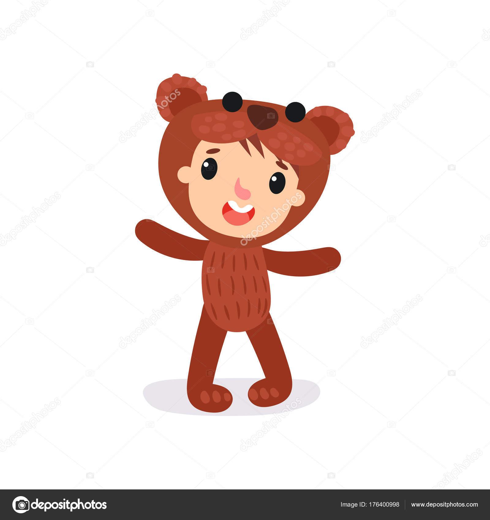 Personaggio comico di ragazzo o ragazza in costume di peluche orso