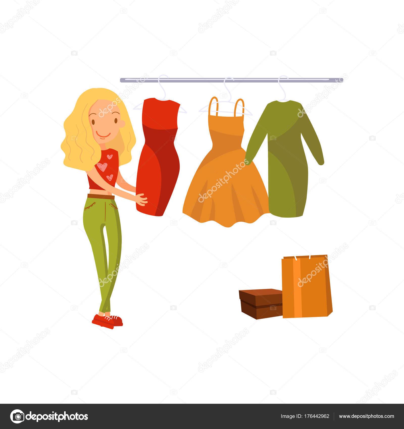 053eb12d51 Mujer elegir vestido durante compras