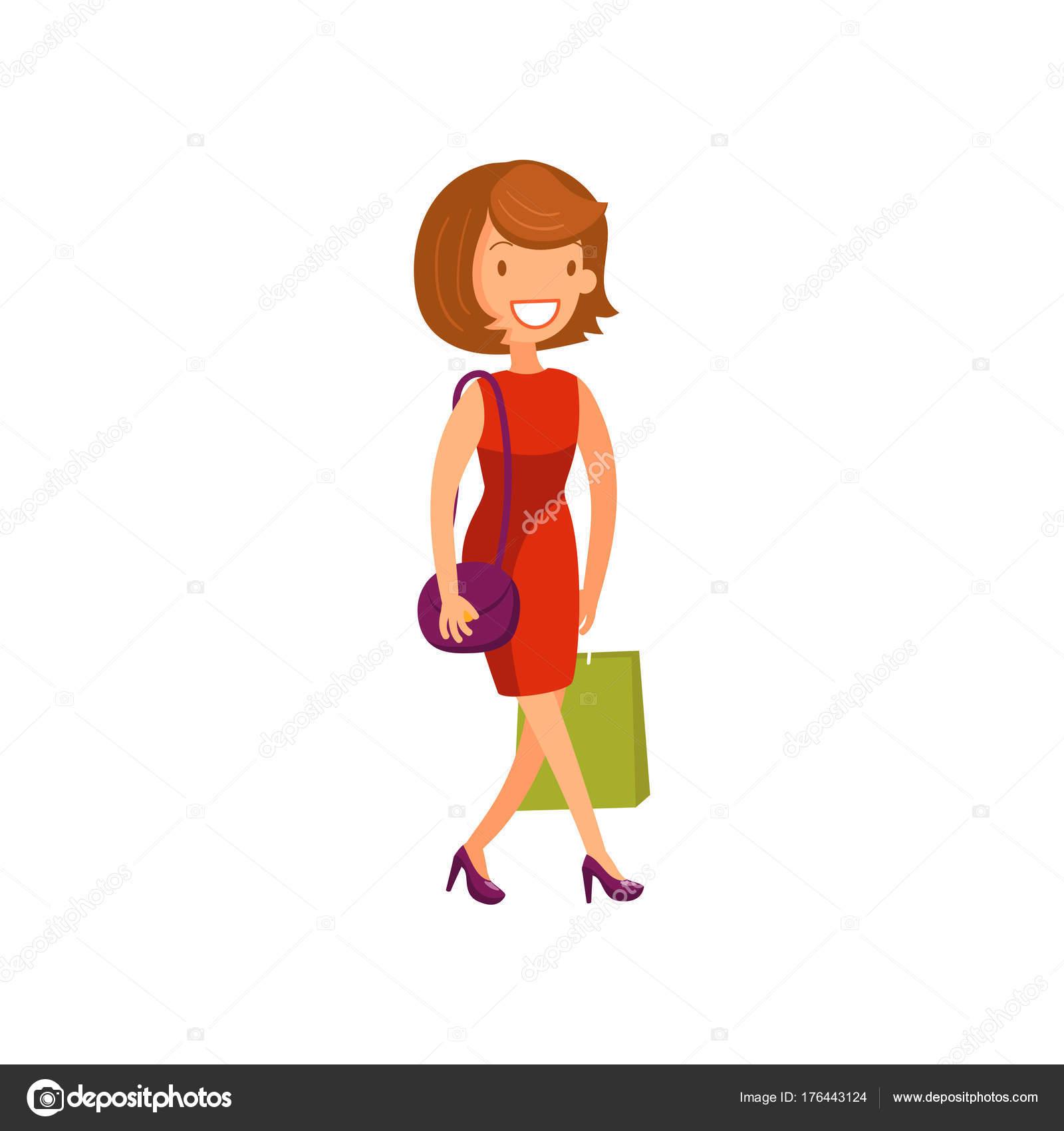 d4038a1e5baf05 Jonge elegante vrouw in rode jurk wandelen met boodschappentassen cartoon  vectorillustratie — Stockvector