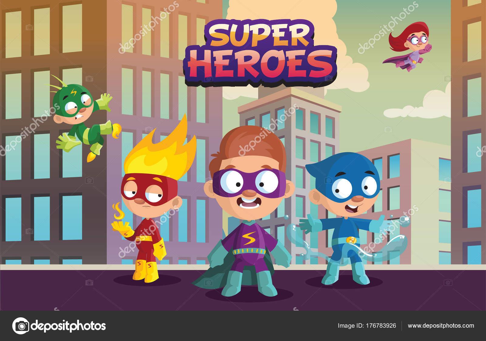 Equipo del super héroe de los niños, divertidos personajes de niños ...