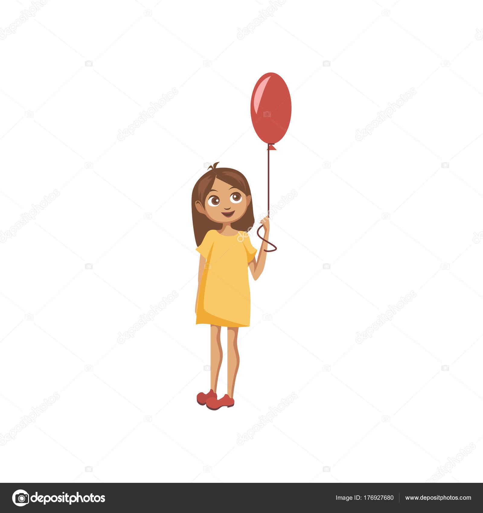 Douce Petite Fille Debout Avec Vecteur De Dessin Animé De