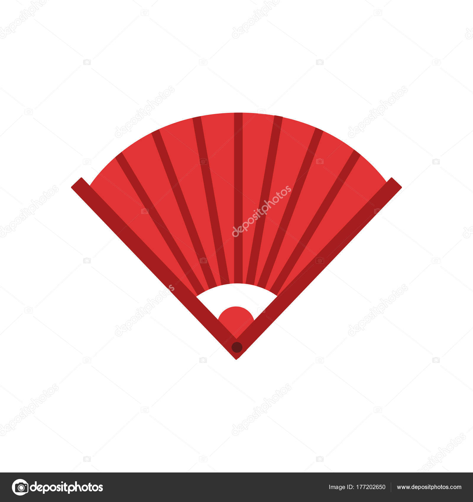 Traditional Chinese Bamboo Hand Fan Icon In Red Color Feng Shui
