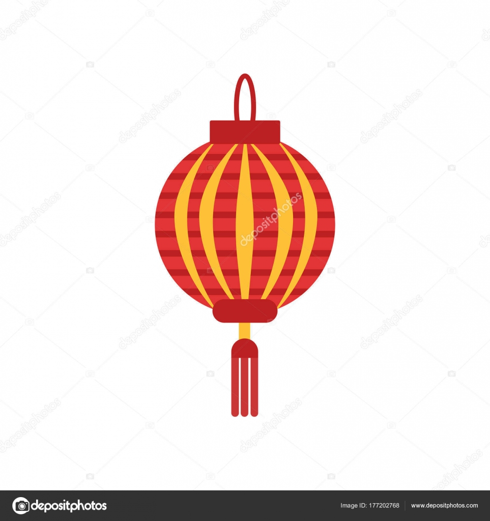 Traditional Chinese Paper Lantern With Little Tassel Lamp In Round Shape Icon In Red And Orange Colors Flat Vector Element For Logo Festival Flyer Or Poster Vector Image By C Happypictures