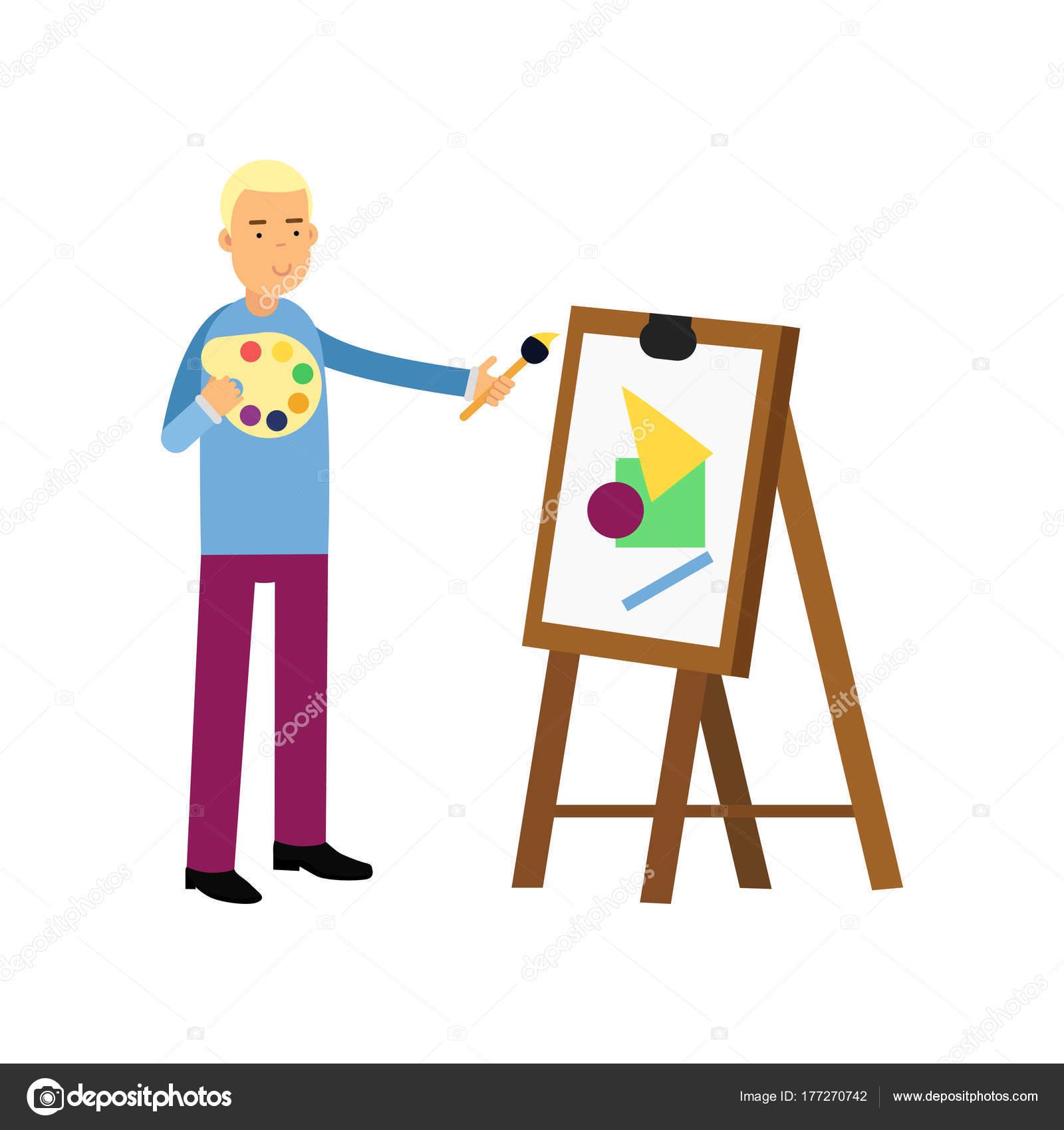 Artiste De Jeune Homme Souriant Peinture Sur Toile Homme Debout